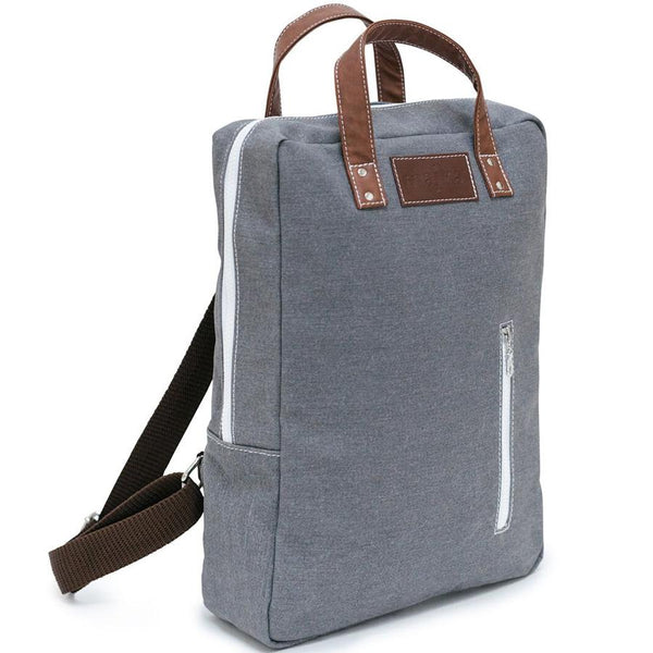 canvas laptop backpack in waxed ash
