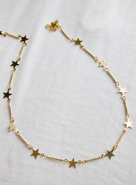 star and gold link layer necklace