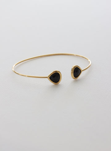 bezel cuff bracelet in black - Piper & Chloe