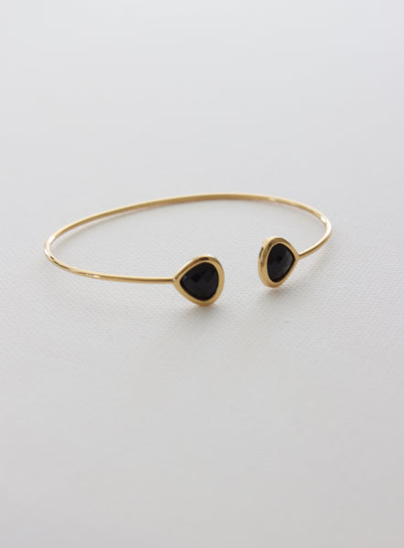 bezel cuff bracelet in black