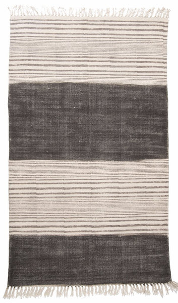 rug hand blocked dhurrie in faded stripes
