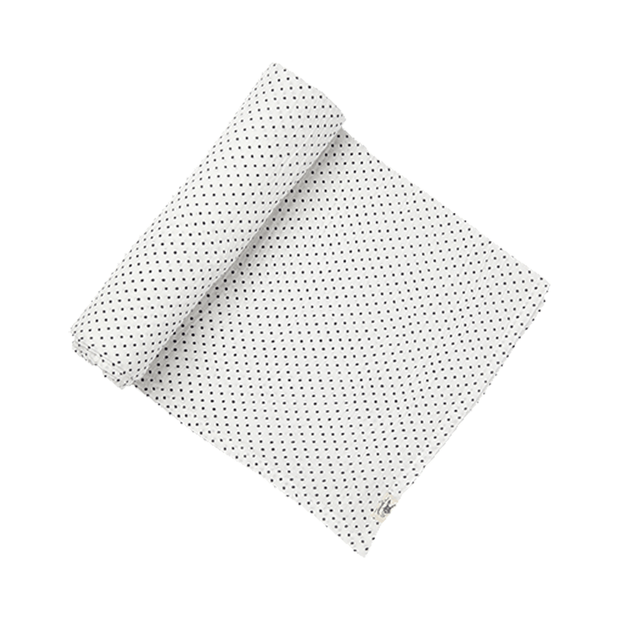 swaddle in navy pin dot - Piper & Chloe
