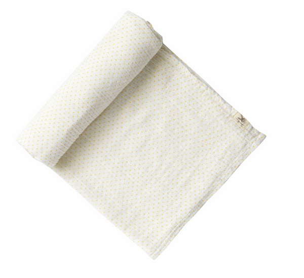 swaddle in yellow pin dot