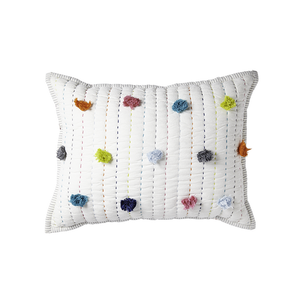 pillow in multicolor pom pom