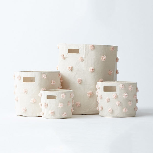 canvas pom pom storage in blush