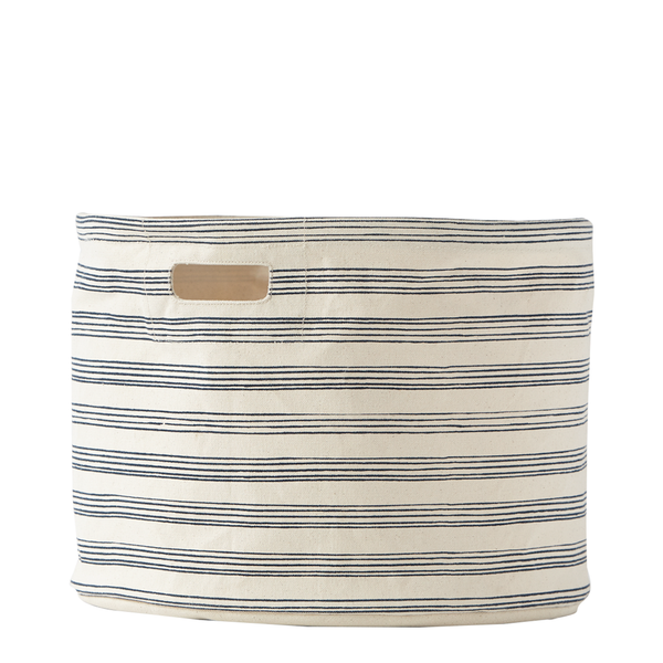 canvas drum in navy stripe