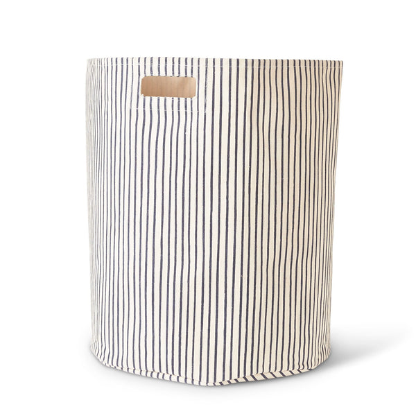 canvas hamper in navy stripe