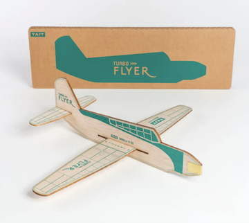 tait design co balsa wood emerald green turbo flyer model airplane | Piper & Chloe