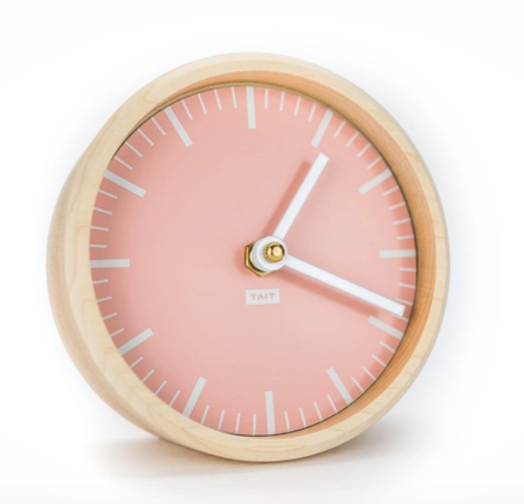 rose solid maple + aluminum desk clock - Piper & Chloe