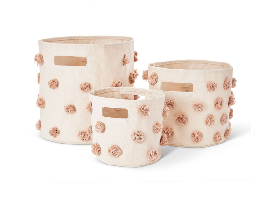 canvas pom pom storage in rose pink - Piper & Chloe