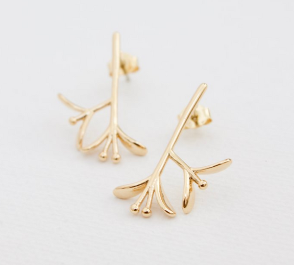 branch stud earrings in gold