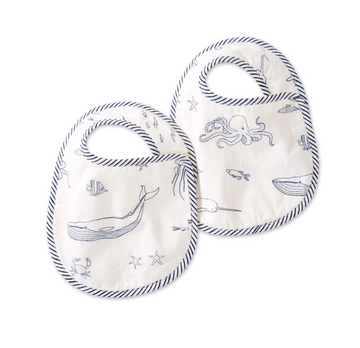 bib set in aquatic life - Piper & Chloe