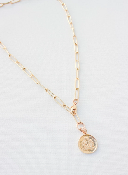 elongated chain necklace with vintage coin