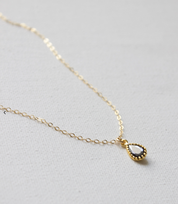 jet black teardrop pendant necklace - Piper & Chloe