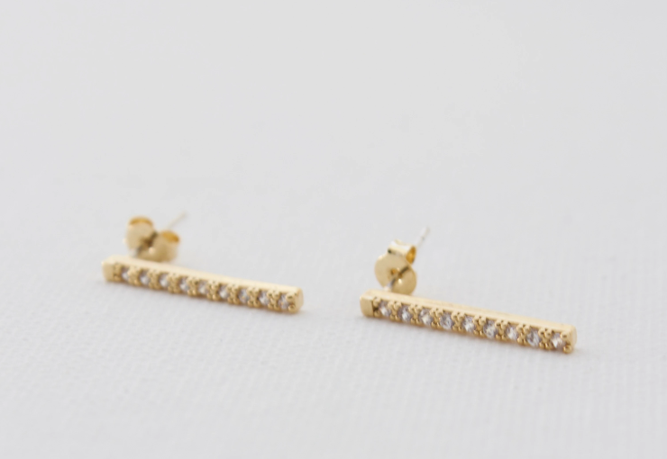 cz bar stud earrings - Piper & Chloe