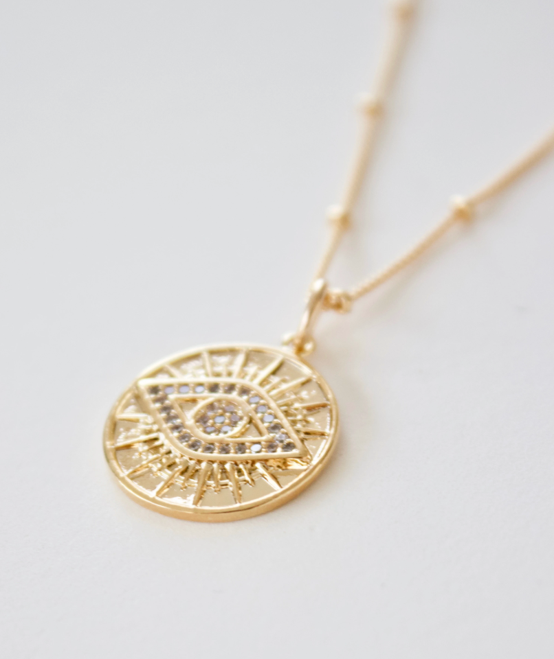 round evil eye medallion necklace - Piper & Chloe