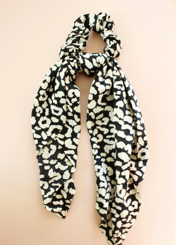 scarf scrunchie in black leopard - Piper & Chloe