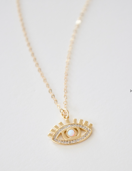 opal and cz evil eye necklace - Piper & Chloe