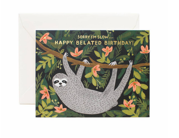 greeting card - belated birthday sloth