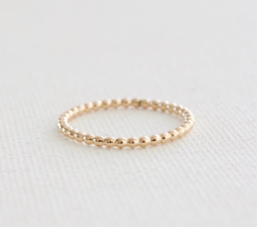 stacking ring in beaded gold