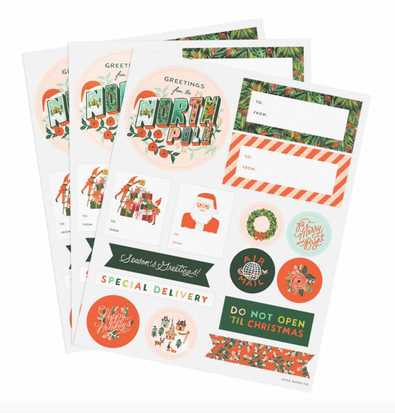 season's greetings stickers & labels