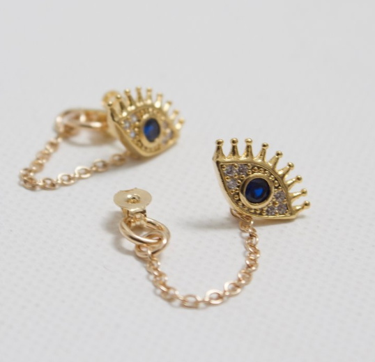 earrings with chain loop evil eye