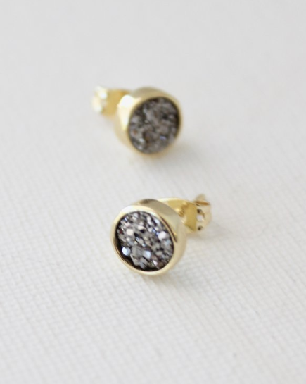 earrings in titanium druzy in silver