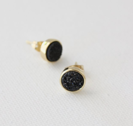 earrings in titanium druzy in black