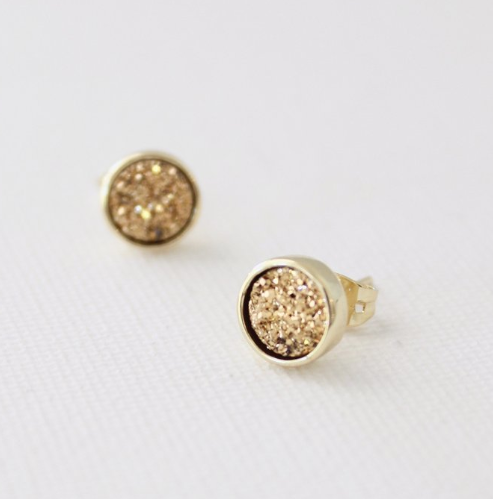 earrings in titanium druzy in gold