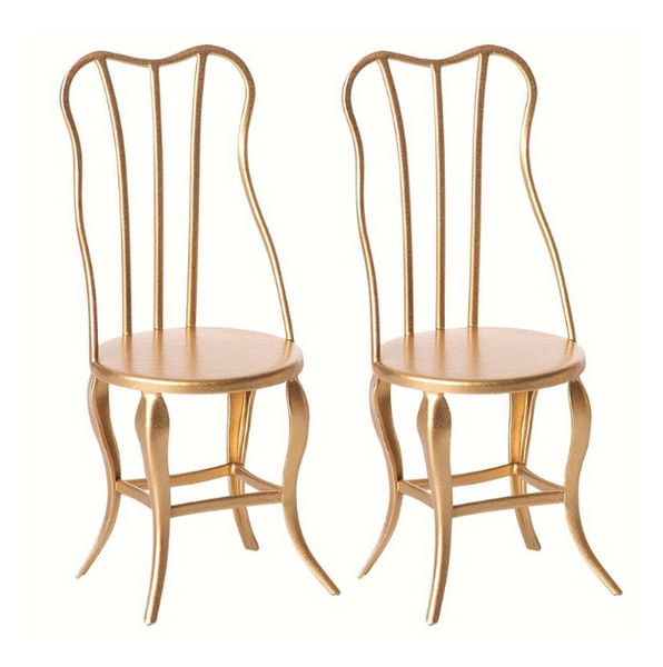 micro vintage chair set in gold
