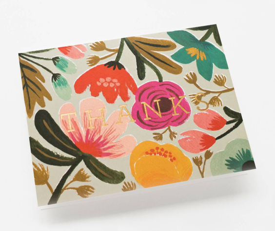 card set in gold floral