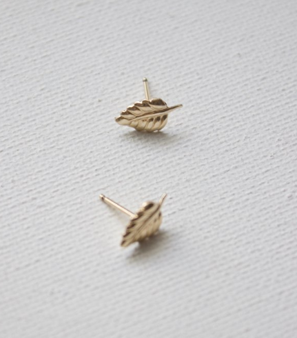 earrings in petite leaf studs