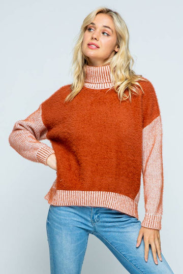 fuzzy knit sweater in rust - Piper & Chloe