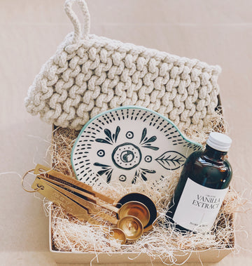 baking day gift box with organic madagascar vanilla, estate measuring spoons, potholder and spoon rest | piper & chloe