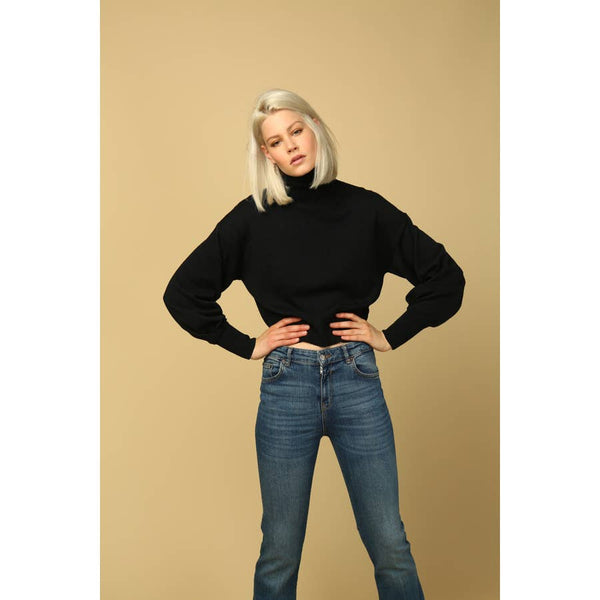 carly balloon sleeve turtleneck sweater in black
