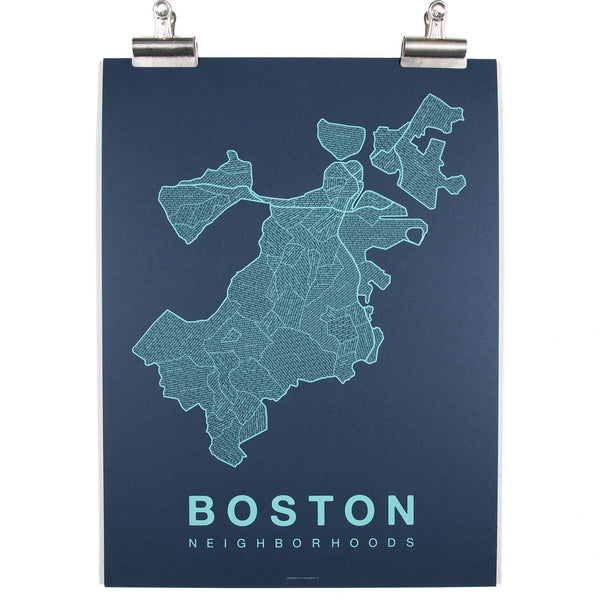 boston city map in teal