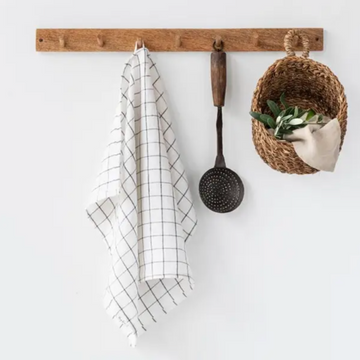 Charcoal Grid 100% Linen Tea Towel | Piper & Chloe
