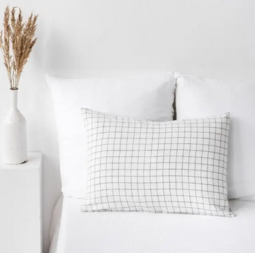 magic linen charcoal grid pillow case available in king, queen and standard sizes | Piper & Chloe