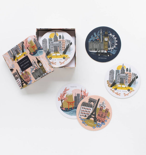 coaster set in cities