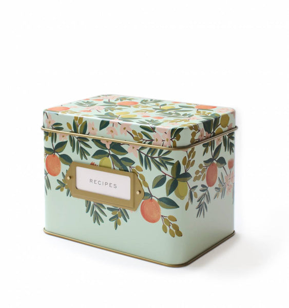 tin recipe box in citrus floral