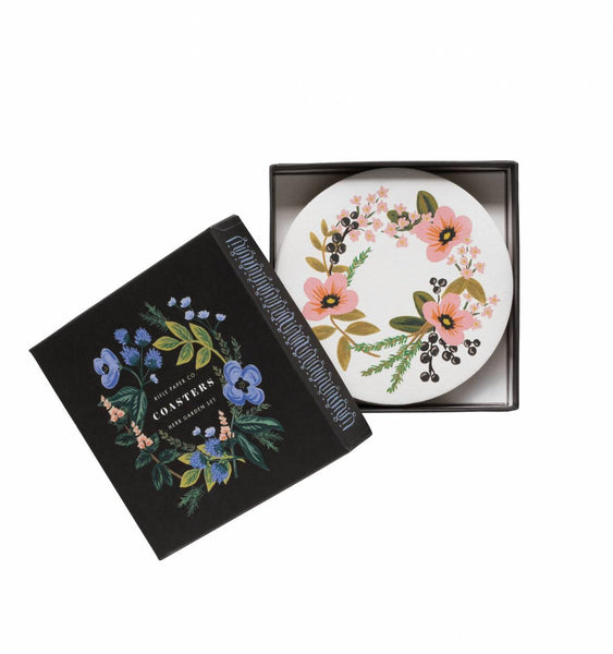 coaster set in herb garden
