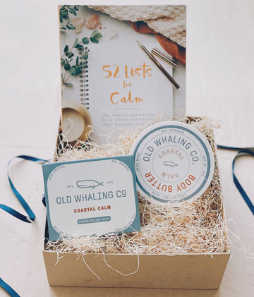 coastal calm gift box with old whaling co body butter and soap and 52 lists of calm book | piper & chloe