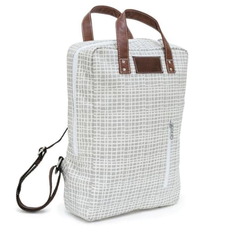 canvas laptop backpack in waxed woven grey