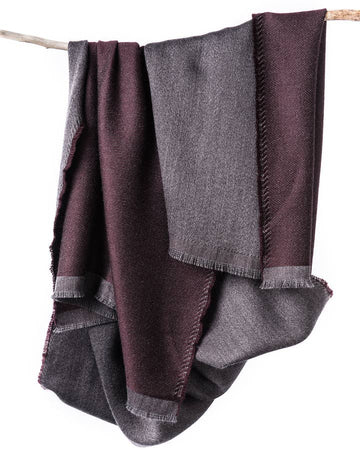 eden reversible merino scarf in burgundy - Piper & Chloe