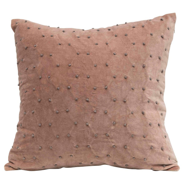 french knot velvet pillow