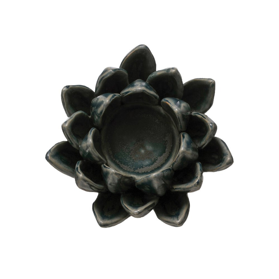 stoneware flower tea light in matte blue - Piper & Chloe