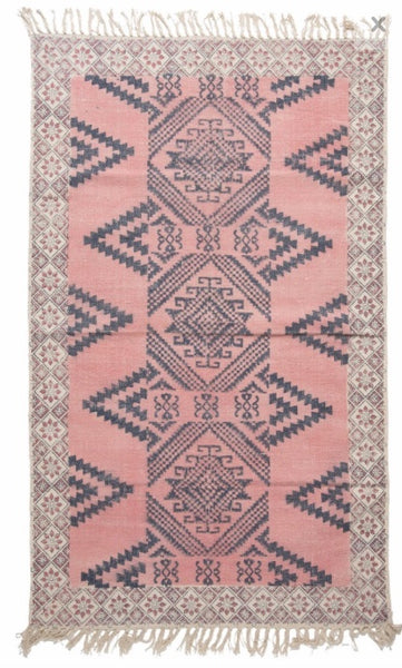 rug hand blocked dhurrie in faded pink