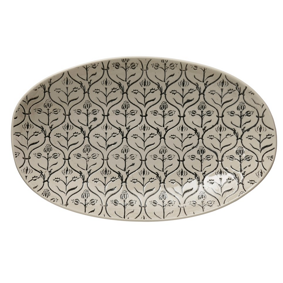 Adelia Hand-Stamped Stoneware Platter Black and Cream | Piper & Chloe