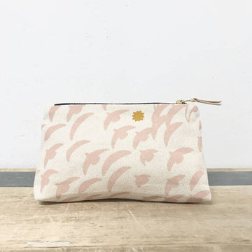 makeup zipper bag in dusty pink flight - Piper & Chloe