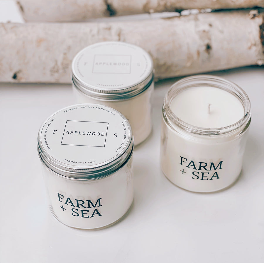farm + sea candle in applewood scent. soy hand-poured candle. phthalate-free.